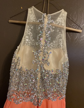 GG collection Orange Size 4 Prom Sequin Halter Straight Dress on Queenly