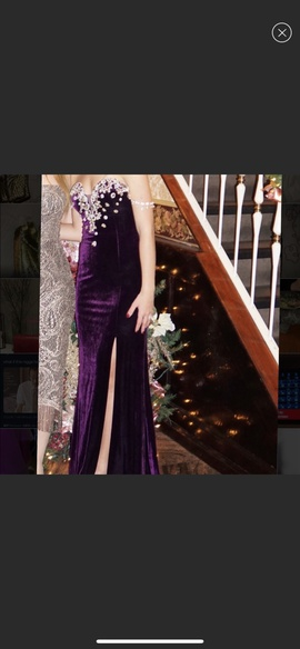 Jovani Purple Size 2 Jewelled Strapless Sequin Side slit Dress on Queenly