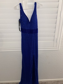 Mac Duggal Blue Size 2 Medium Height Backless Side slit Dress on Queenly