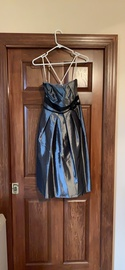 Queenly size 12  Silver A-line evening gown/formal dress