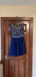 Queenly size 12 Sherri Hill Blue A-line evening gown/formal dress