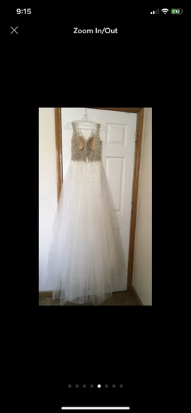 Jovani White Size 2 Plunge Overskirt Cap Sleeve Fitted Ball gown on Queenly