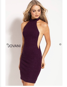 Jovani Purple Size 2 Mini Shiny Cocktail Dress on Queenly