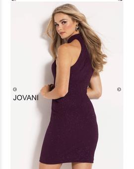 Jovani Purple Size 2 Halter Mini Cocktail Dress on Queenly