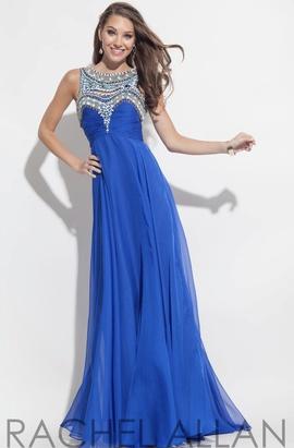 Queenly size 0 Rachel Allan Blue A-line evening gown/formal dress