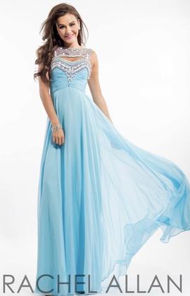 Rachel Allan Blue Size 14 Tulle Train A-line Dress on Queenly