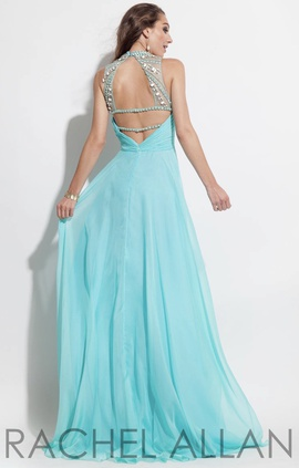Rachel Allan Blue Size 4 Backless A-line Dress on Queenly