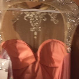 Tiffany Designs Pink Size 8 Tiffany Jewelled Strapless Sequin A-line Dress on Queenly