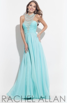 Rachel Allan Blue Size 8 Train Backless A-line Dress on Queenly