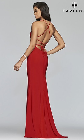 Faviana Red Size 4 Backless Side slit Dress on Queenly