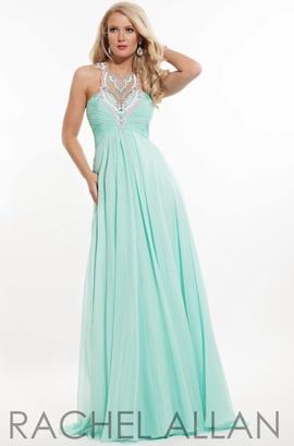 Queenly size 12 Rachel Allan Green Train evening gown/formal dress