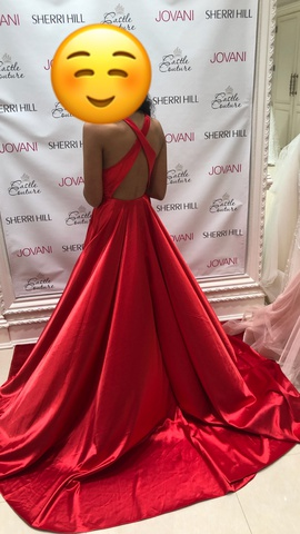 Red Size 00 Side slit Dress on Queenly