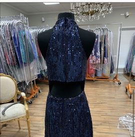 Sherri Hill Blue Size 4 Shiny Jewelled Sequin A-line Dress on Queenly