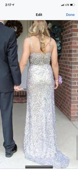 Shail K Silver Size 6 Sequin Side slit Dress on Queenly