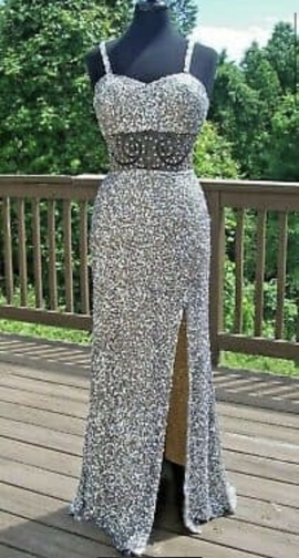 Queenly size 6 Shail K Silver Side slit evening gown/formal dress