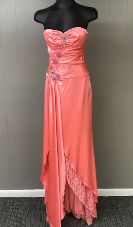 Queenly size 0 Rachel Allan Orange Side slit evening gown/formal dress