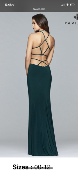 Faviana Green Size 6 Medium Height Train Dress on Queenly