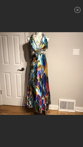 Tony Bowls Multicolor Size 4 Backless Train Side slit Dress on Queenly