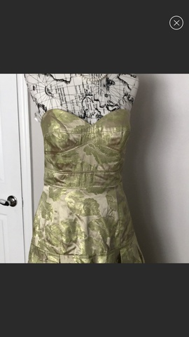 Jovani Green Size 12 Strapless High Low Train Floral A-line Dress on Queenly