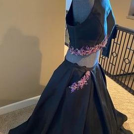 Queenly size 14 Jovani Black Ball gown evening gown/formal dress