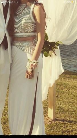Rachel Allan White Size 4 Jewelled Sequin Side slit Dress on Queenly