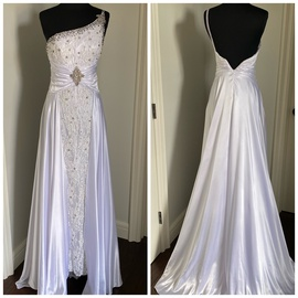 White Size 0 Train Dress on Queenly