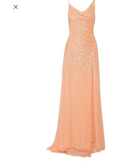 Halston Heritage Orange Size 0 Tall Height Side slit Dress on Queenly