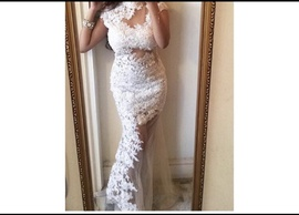 Jovani White Size 2 Medium Height Backless Straight Dress on Queenly