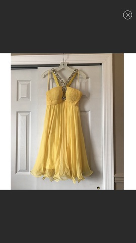 Queenly size 0 Jovani Yellow Cocktail evening gown/formal dress
