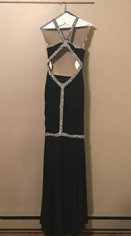 Jovani Black Size 0 Jersey Backless Jewelled Sequin Ball gown on Queenly