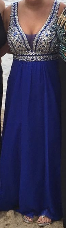 Faviana Blue Size 8 Jewelled Sequin Straight Dress on Queenly
