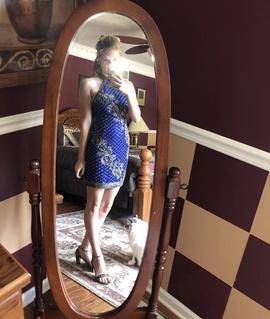 Queenly size 2 Rachel Allan Blue Straight evening gown/formal dress