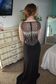 Jovani Black Size 6 Jewelled Sequin Train Dress on Queenly