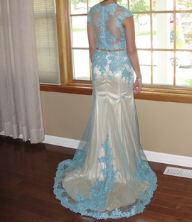 Tiffany Designs Blue Size 4 Prom Train Dress on Queenly