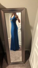 Mary L Blue Size 2 Plunge Backless Mermaid Dress on Queenly