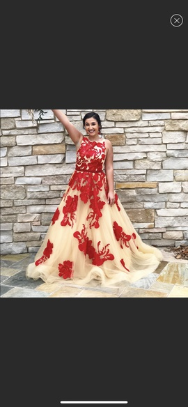 Jovani Red Size 12 Prom Plus Size Ball gown on Queenly