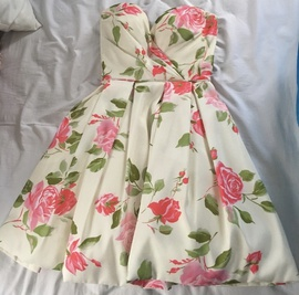 Sherri Hill Multicolor Size 4 Sweetheart Strapless Floral Cocktail Dress on Queenly