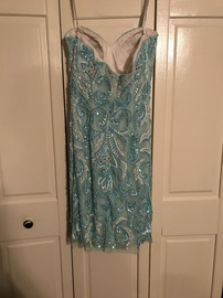Scala Blue Size 4 Turquoise Sweetheart Strapless Straight Dress on Queenly