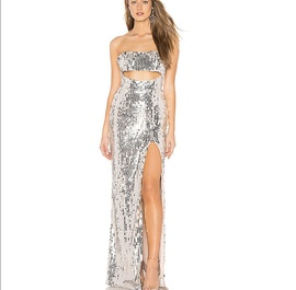 Queenly size 0  Silver Side slit evening gown/formal dress