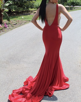 Jovani Red Size 4 Backless Train Dress on Queenly