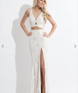 Rachel Allan White Size 8 Side slit Dress on Queenly