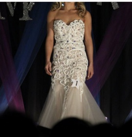 Jovani White Size 2 Strapless A-line Dress on Queenly