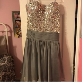 Queenly size 2 La Femme Silver Cocktail evening gown/formal dress