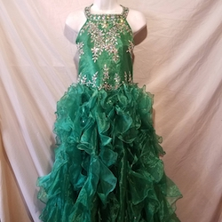 Queenly size 14  Green Ball gown evening gown/formal dress