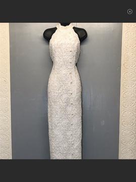 Gloria Vanderbit White Size 10 Halter Sequin Straight Dress on Queenly