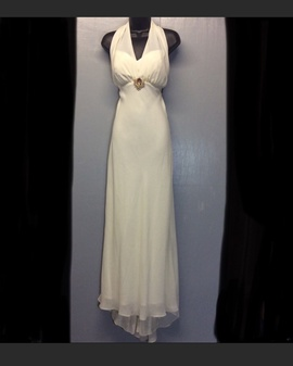 Queenly size 14 Betsy & Adam White Train evening gown/formal dress