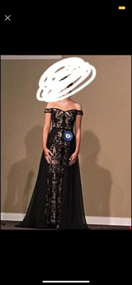 Jovani Black Size 0 Prom Cape Straight Dress on Queenly