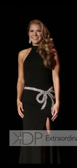 Queenly size 2 Sherri Hill Black Side slit evening gown/formal dress