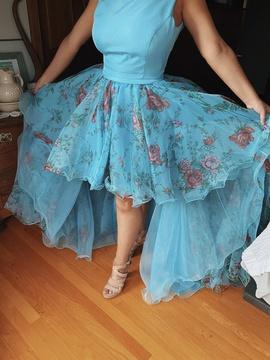 Sherri Hill Blue Size 12 Plus Size Train Dress on Queenly