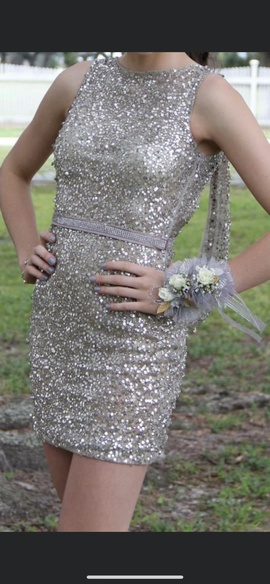 Queenly size 4 Sherri Hill Gold Cocktail evening gown/formal dress